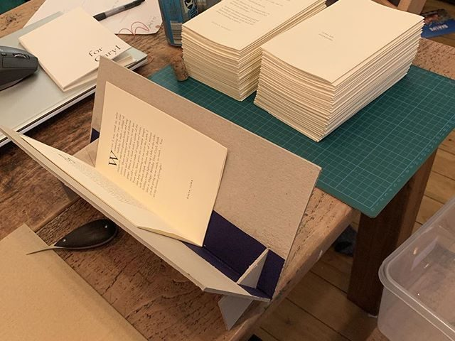 Bit of long-overdue binding tonight, after an excellent day at @thinicepress. It's a hard life.