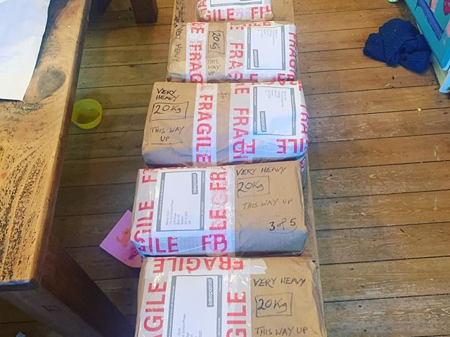 First consignment of the year heading out- a book set in 12pt Van Dijck, heading off to Martyn Ould's Old School Press. • I'm always immensely grateful to my customers; I occupy an increasingly niche field and, while I personally think it's important to keep things hot metal typesetting available, I know that it's expensive, messy and a often lot of hassle to order it. As a result, I'm always delighted when people are willing to throw their money and energy into it, and Martyn's one of those people. Have a look at his work if you don't know him already.